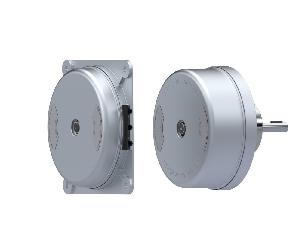 External Rotor Permanent Magnet DC Electric Pancake Motors: XR15-03 with shaft, and XR15-06 with rear shaft and brake.